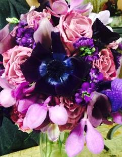 Purple Orchidand Anemone Bouquet