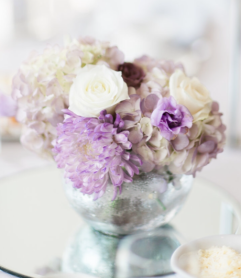 Lavender and Ivory Centerpiece